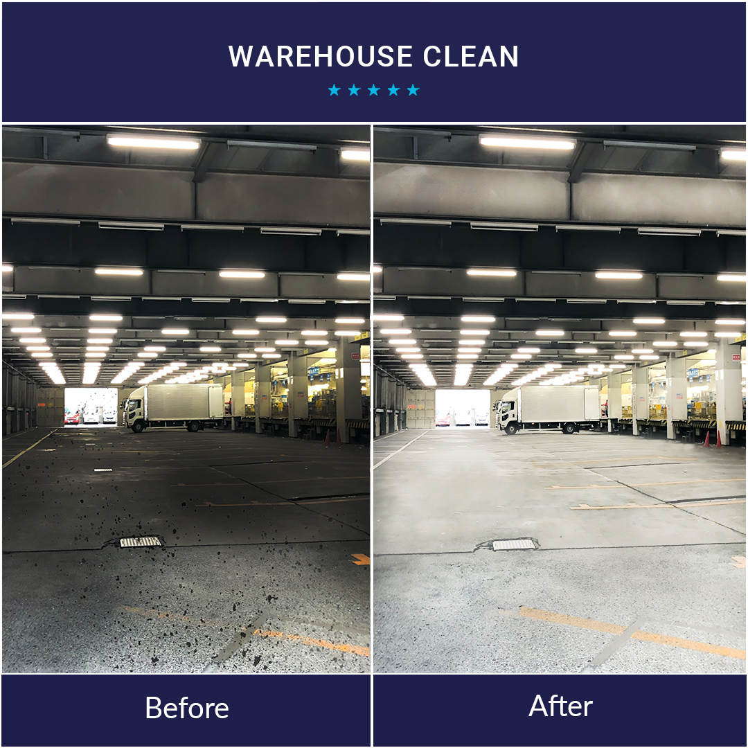 before and after warehouse clean