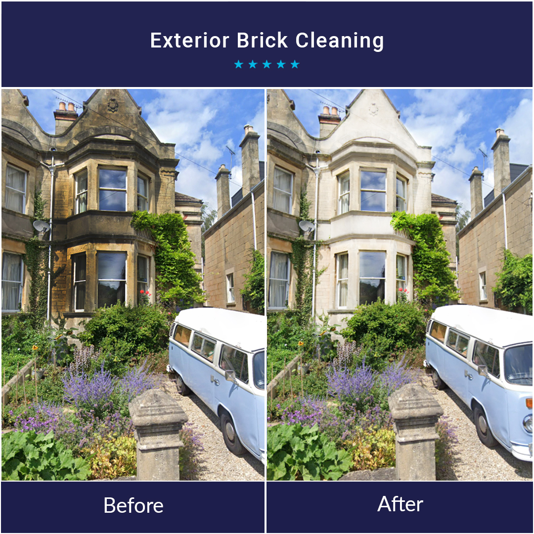 Exterior brick cleaning before and after.
